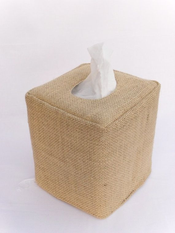 Burlap natural tissue box cover on Etsy, $13.50