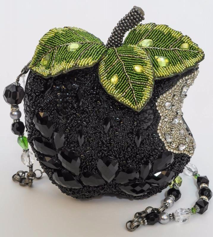 Mary Frances Wicked Black Apple Beaded Jeweled Handbag Bag, Dustbag, Strap #MaryFrances #EveningBag