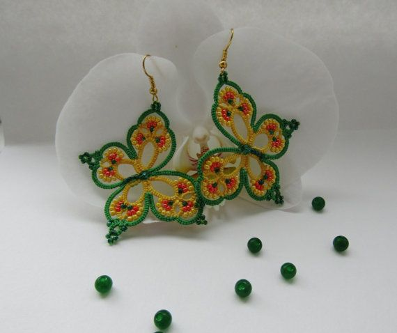 "Yellow and green earrings ""Rainbow Butterfly"", beaded tatted earrings by TattingLaceJewellery on Etsy #tatting #insect #jewelry"