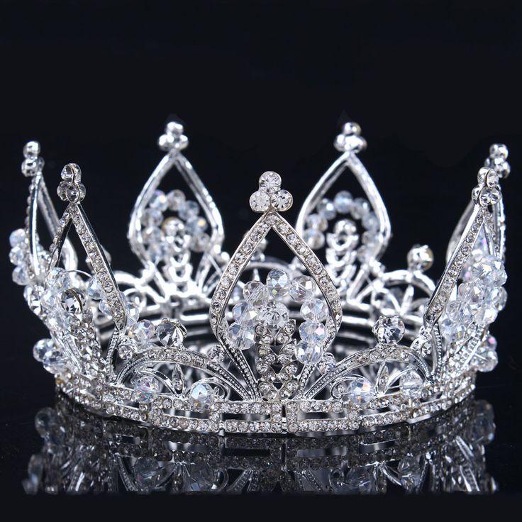 2016 yeni Gelin Prenses Avusturyalı Çarpıcı Kristal Saç Tiara Düğün Taç Veil Kafa düğün tiaras için gelinler