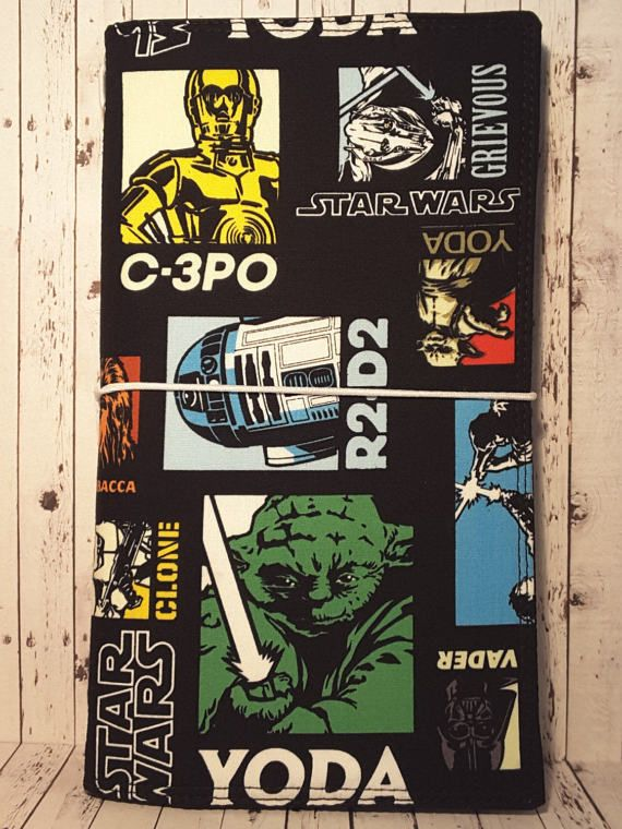 Wilddori 'Star Wars the Clone Wars' Travelers Notebook Journal with Black Lining and White Elastic, Midori Style Fauxdori, with Insert.