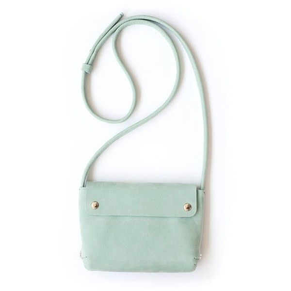 Renske Versluijs leather handbag mint (1.321.055 IDR) ❤ liked on Polyvore featuring bags, handbags, blue, leather handbags, white leather purse, blue purse, white hand bags and genuine leather handbags