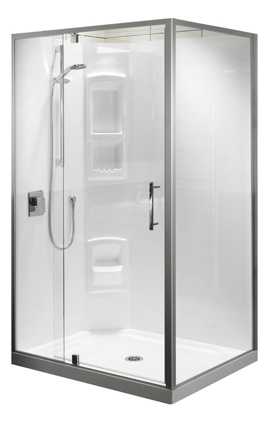 Clearlite Millennium Rectangle Shower Rectangle shower, white or frost satin frame available, different sizing options, includes tray and liner. http://www.plumbin.co.nz/shop/showers/Clearlite+Millennium+Rectangle+Shower.html