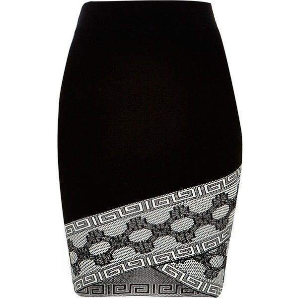 River Island Black knitted patterned hem pencil skirt ($64) ❤ liked on Polyvore featuring skirts, black, mini skirts, women, black fitted skirt, pencil skirt, black skirt, black print skirt and tall skirts