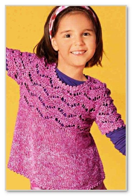 Вязание спицами. Меланжевая расклешенная туника с ажурным верхом и с короткими рукавами, для девочки. Размер: 104/110 (116/122) 128/134