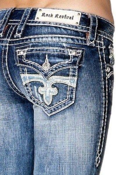 Rock Revival Celine Skinny Jeans 29 6 Stretch Bling Flap 30 Inseam WORN 1X EUC #RockRevival #StretchySlimSkinnyEmbellished