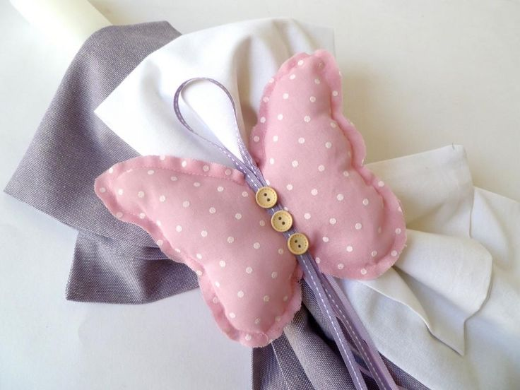 craft room - γάμος, βάπτιση, διακόσμηση: λαμπάδα ροζ πουά πεταλούδα για κοριτσάκι