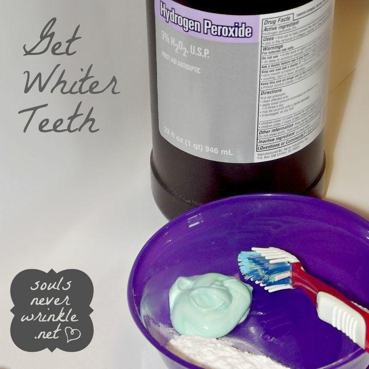 Whiter Teeth: At Home, Diy Teeth, How To Whitening Your Teeth, White Teeth, Baking Sodas, Hydrogen Peroxide, Brushes, Teeth Whitening, Whiter Teeth