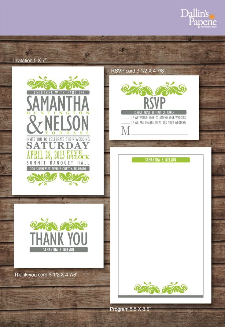 reply to wedding invitation m%0A Modern green and Gray Wedding Invitation RSVP Thank your card Ceremony  program DIY Printable  Customized