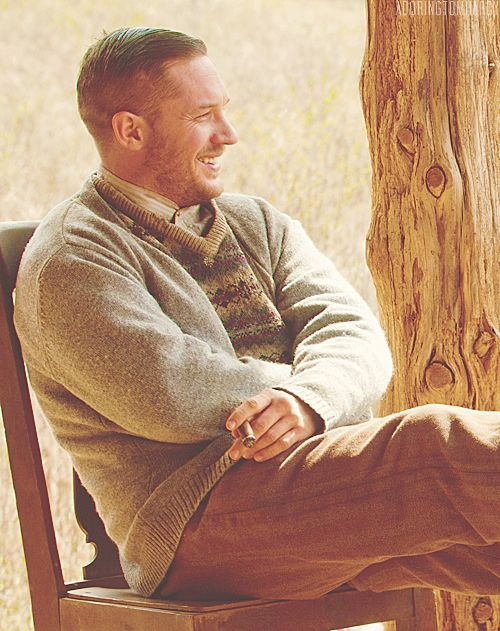 Tom Hardy in Lawless. But obviously not while filming...he didn't crack a smile through that entire movie. And still managed to be lovable. :)