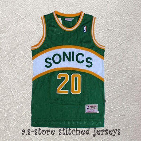 huge discount 085aa 3acdb Seattle Sonics 20 Retro Green Gary Payton Basketball Jersey ...