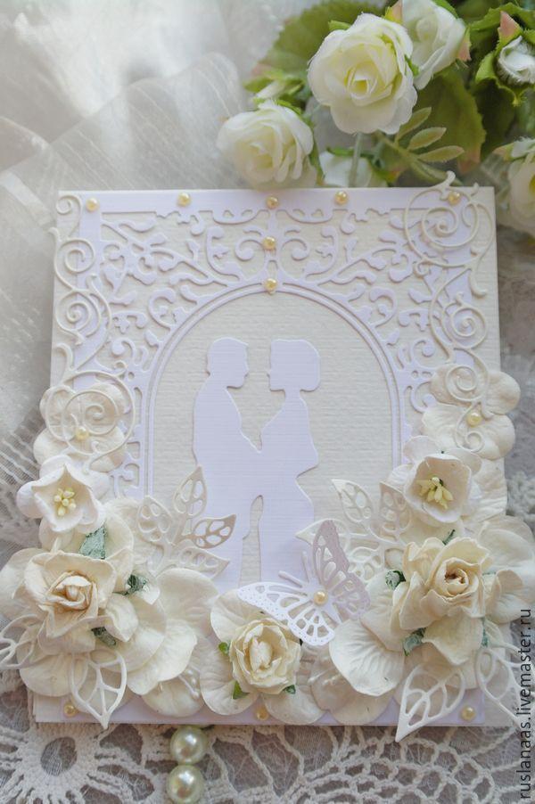 """Купить Свадебная ажурная открытка""""С Днём свадьбы""""ручной работы - белый, свадебная открытка, открытка для денег"""