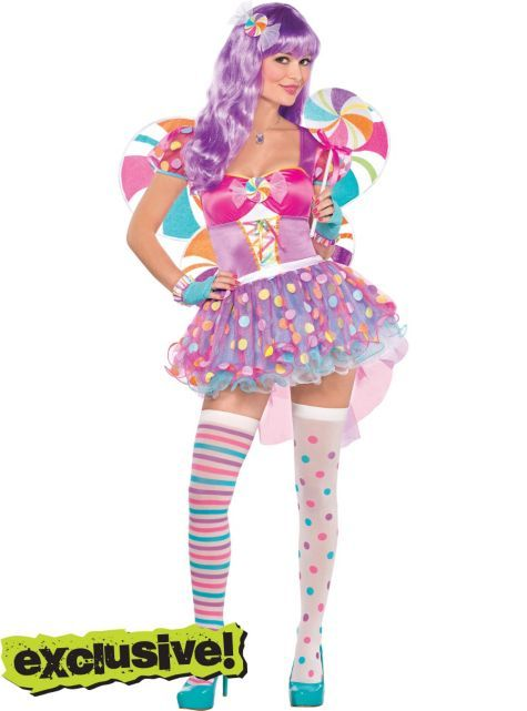 Women's Candy Shop Fairy Costume with Wand - Halloween City