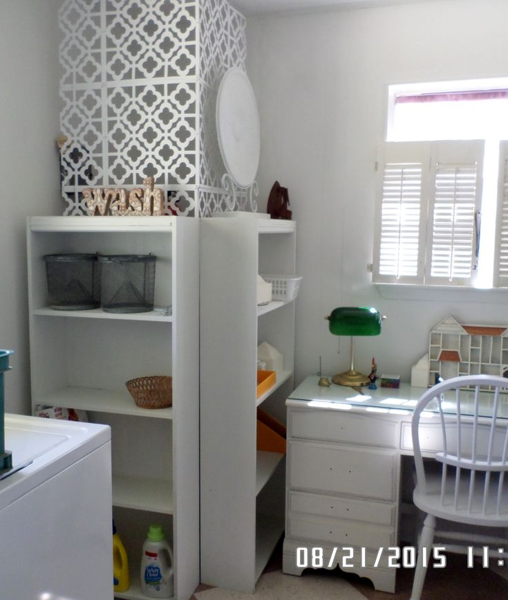 Hide water heater with cheap laminate bookcases - up cycled with chalk paint & beadboard wallpaper.                                                                                                                                                                                 More