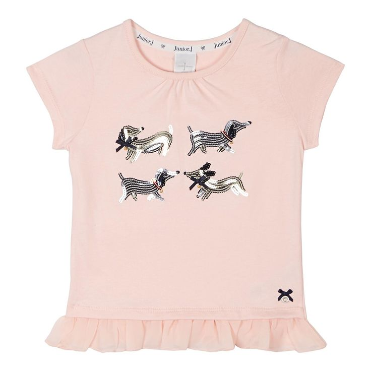 This girl's cute t-shirt from Jasper Conran comes in pink with a silver and gold sequinned dog design and a frilly hemline.