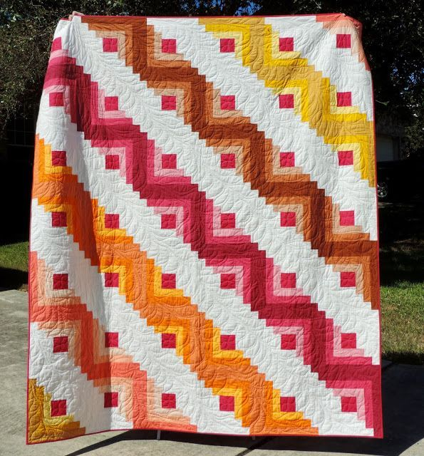 Name: Sunset Cabin / Pattern: Traditional Log Cabin Block Made With  Creative Grids Log