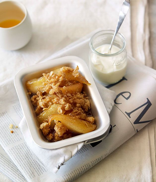 Australian Gourmet Traveller recipe for honey-baked pear breakfast crumble.