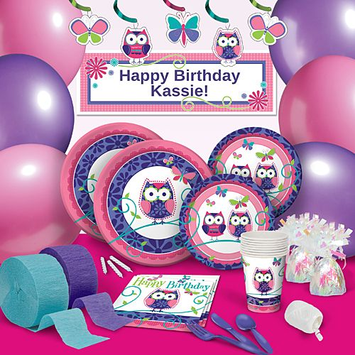 Our Owl Pal Birthday Party Supplies will make your birthday celebration a Hoot! From the pink and purple colored wide eyed owls, the simple yet fun design will make her smile.
