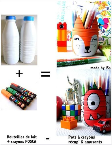 recyclage bouteille lait pots crayons amusants enfants petits bricolages pinterest. Black Bedroom Furniture Sets. Home Design Ideas