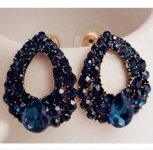 2015 pietra naturale moda nero blu gioielli grandi orecchini brincos oro zaffiro orecchini per le ragazze di estate stile pendientes lq(China (Mainland))