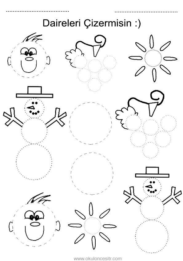 Daire kavramı çalışma sayfası ve daire yuvarlak geometrik şekiller kavramı çalışmaları etkinliği oyunu örnekleri kağıdı indirme, çıktı yazdırma. Free circle worksheets download printable.