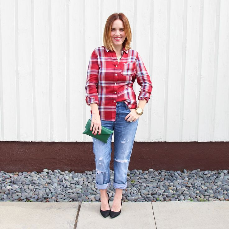 How To Wear: Plaid Shirt Tucked into Boyfriend Jeans with ...