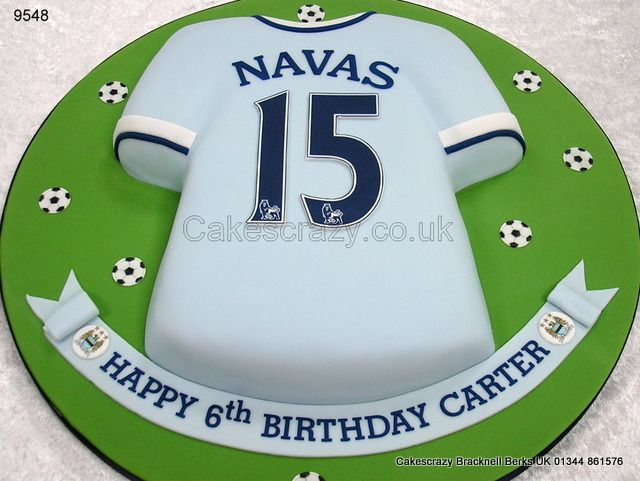 Manchester City Football Shirt Cake http://www.cakescrazy.co.uk/details/manchester-city-shirt-cake-9548.html