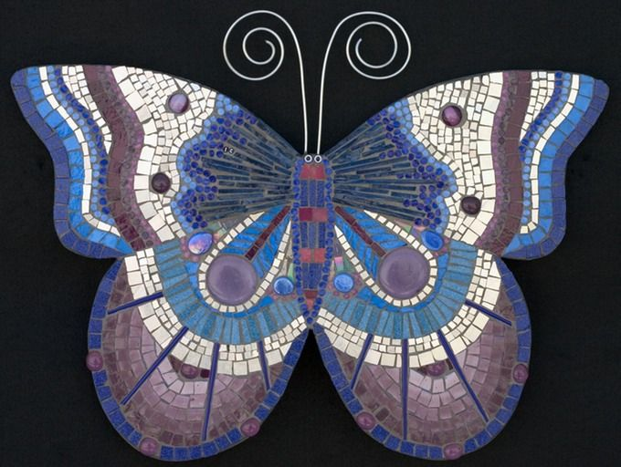 Lilac blue mosaic butterfly