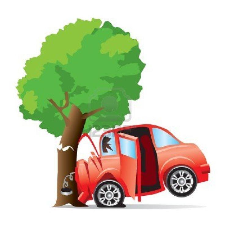 Car Crashing A Tree Clipart