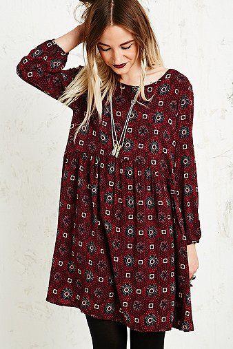 Staring at Stars Tile Print Dress in Burgundy - urbanoutfitters - boho