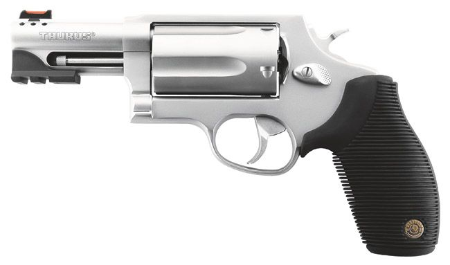 Taurus Judge Public Defender, because sometimes you need a combination of .45 cal rounds and 4/10 shotgun shells.