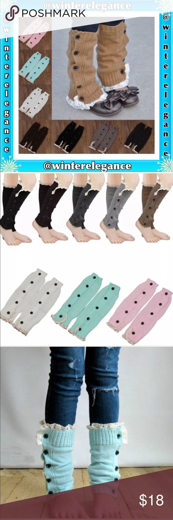 Leg Warmers Knitted Button Boot 100% Brand New And High quality ALL COLORS ARE AVAILABLE  Material: Acrylic  8 colors to choose :  Dark Gray, Pink, Black, Light Gray, White, Coffee, Khaki and Lake Blue  Length:32.5cm Width: 9.5cm.               ❗️Children's size up to Teens❗️  PRICE IS FIRM UNLESS BUNDLED  Package Includes 1 pair of Petite leg warmers ( Not Recommended for large legs ) Winter Elegance Accessories Hosiery & Socks