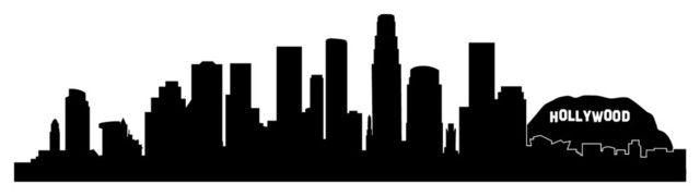 Los Angeles Skyline Outline Silhouette Vector Svg Eps Jpg Png Silhouette Vector Los Angeles Skyline Houston Skyline