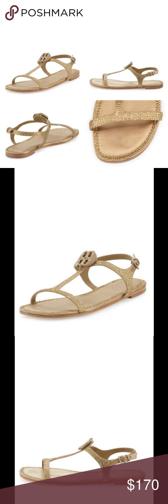 "Tory Burch Delphine Crystal Flat Logo Sandal Tory Burch crystal-embellished satin sandal. 0.5"" flat heel. Open toe. T-strap vamp with logo detail. Adjustable ankle strap. Leather outsole. ""Dephine"" is imported. Tory Burch Shoes Sandals"