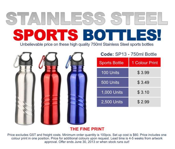 Great value 750ml Stainless Steel sports bottles.