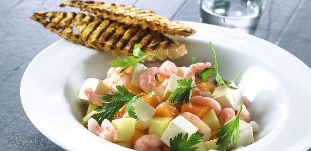 Kutter-Rejer med limemarineret melon-fetasalat og grillet brød
