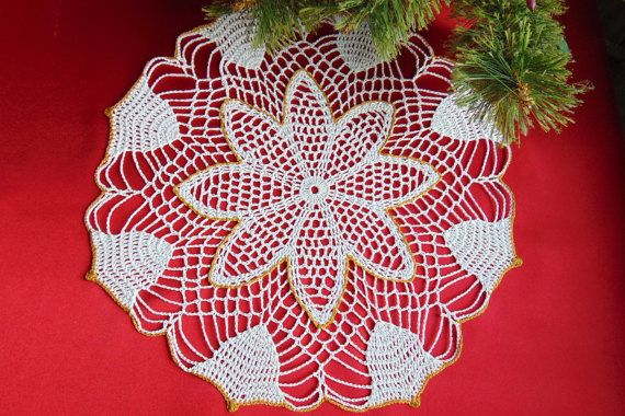 Gold and White Bells Christmas Lace Doily Crochet by MaddaKnits