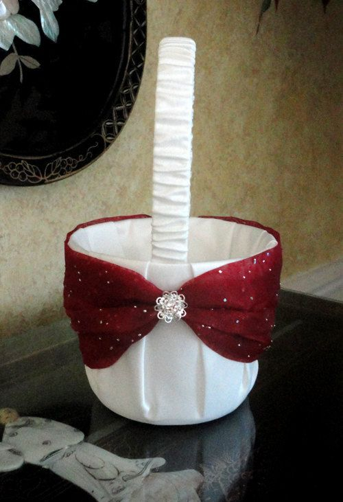 Small Wedding Flower Girl Basket, Ivory Apple Red or Custom Made to your colors with Swarovski Crystals Flowers. $42.00, via Etsy.