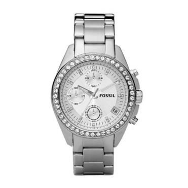 Ladies Fossil round face Decker watch with stones on bezel and dial. http://www.sterns.co.za