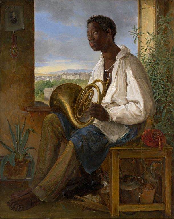 Albert Schindler, Portrait of a Gardener and Horn Player in the Household of the Emperor Francis I, 1836. Oil on panel.