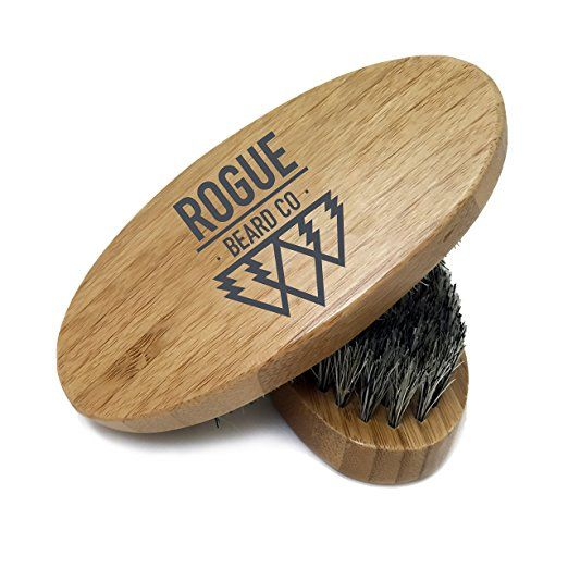 BEARD BRUSH - Wooden Boar Hair Bristle Beard Brush by Rogue Beard Company - Perfect For a Beard Grooming Kit for Men - Made of Boars Hair Bristles and Firm Natural Wood - Great For Men's Gift