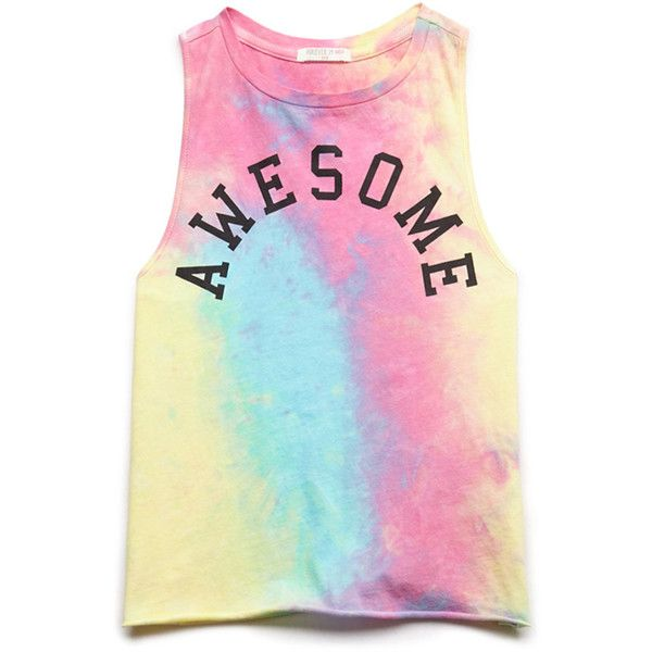 FOREVER 21 GIRLS Awesome Tie-Dye Tank (Kids) ($6) ❤ liked on Polyvore featuring tops and shirts