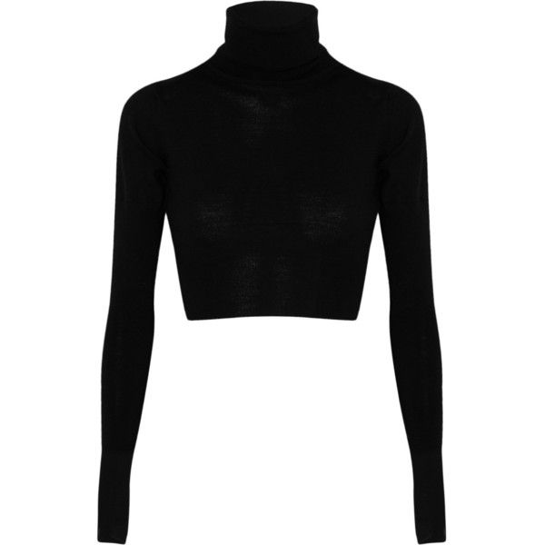 MM6 Maison Martin Margiela Cropped wool turtleneck sweater ($375) ❤ liked on Polyvore featuring tops, sweaters, crop tops, shirts, black, long sleeve sweater, wool shirt, long-sleeve crop tops, polka dot sweaters and woolen sweater