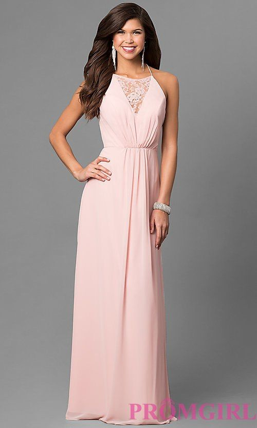 83b8cdb7e158 Long Chiffon Prom Dress with Lace V-Neck Inset Long Formal Gowns