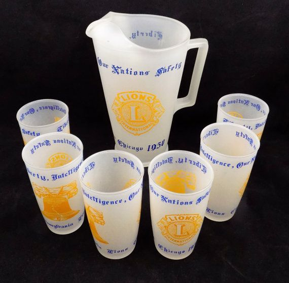 Lions Club International, Frosted Glass Pitcher, 6 Frosted Tumblers, Pitcher and Tumblers Set, Lions Club International, Pennsylvania Chicago 1950. Pitcher holds around one half gallon, stands 9 1/2 tall, 4 wide base, 5 1/2 at top, approximately.  This is a hard to find set of frosted glass memorabilia for the Lions International. Marked Liberty Intelligence, Our Nations Safety on both pitcher and tumblers. Along with Pennsylvania Lions Chicago 1950. The images are the Lions International…