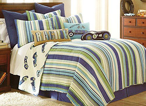 Toddler Bedding Cotton 3 Piece Quilt Set And Decorative Pillow Hot Rod  Retro Race Cars Reversible Stripes Quilted Bedding Bedspread Green Blue