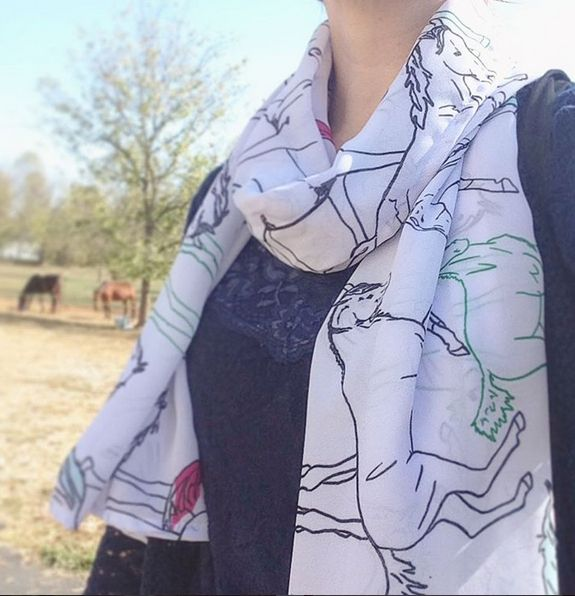 CUTE horse scarf! these equestrian themed scarves have colorful horses all over them