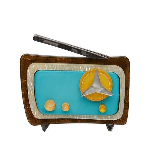 """Erstwilder Limited Edition Radio Shack Brooch. """"The trusty old wireless will keep this picnic rocking. Not to mention provide a timely weather report should clouds appear."""""""