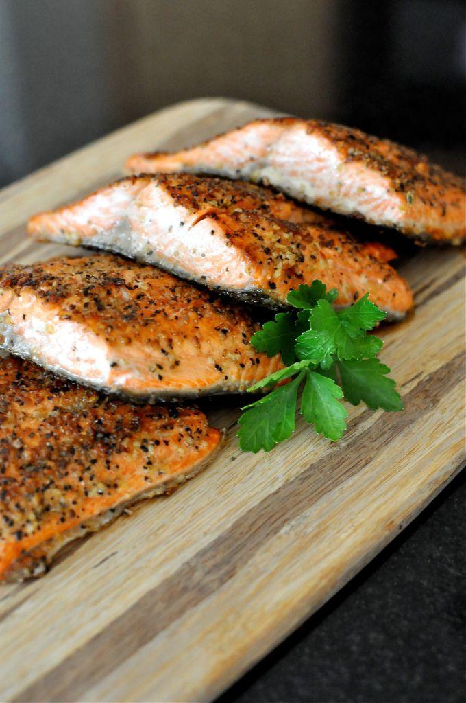 Ingredients: -1 Whole Salmon Filet {~2 lbs worth} -1 Tbl Kosher Salt & Pepper Mix {or steak seasoning} -1 Tbl Extra Virgin Coconut Oil {EVCO} or Butter -Flatleaf Parsley for Garnish {optional}