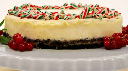 Candy Cane Cheesecake  So easy to bring along for dinner parties.